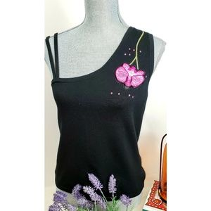 Cache Blk One-shoulder Silk Floral Sleeveless Top